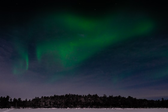 Aurora Borealis seen from Lake Inari in Nellim, Finland.