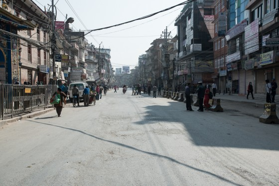 The empty streets of Kathmandu, due to a strike.